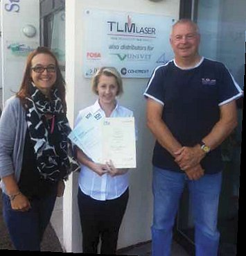 TLM Apprentice Stempanie with Andy Toms and Lisa Leigh (Training Advisor)