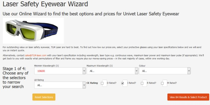 Laser Safety Eyewear Wizard page