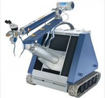 an ergonomic laser system which can be driven easily and fast to the work pieces and this with millimeter accuracy